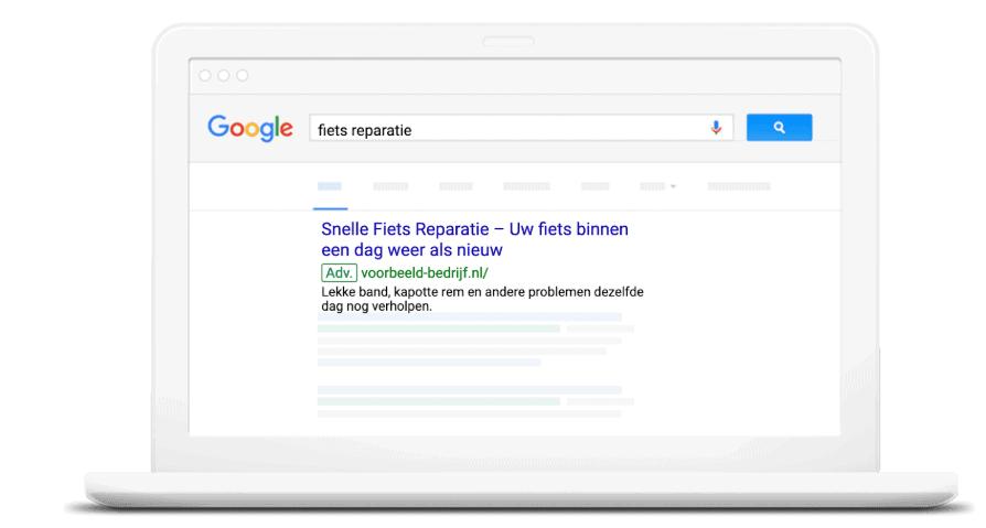 Voorbeeld Ad op Google
